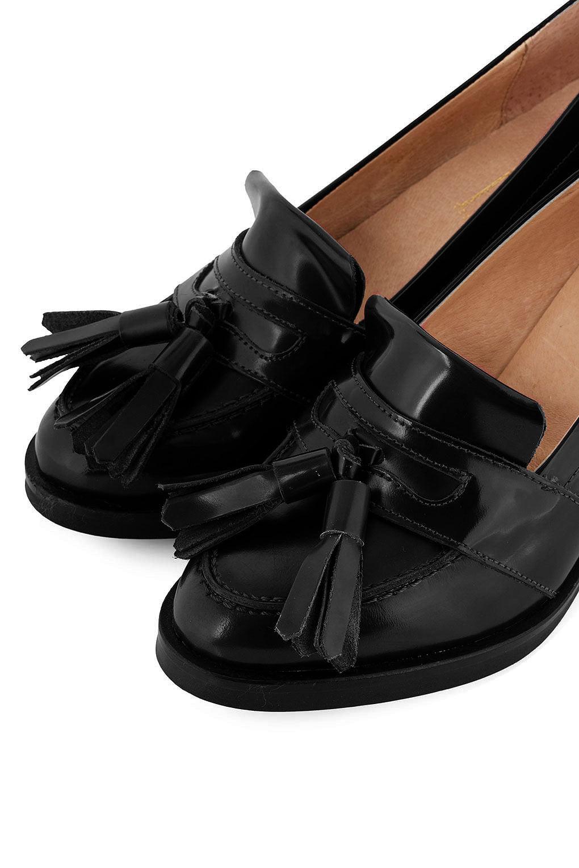 50f88824479f4 Jax Studio Jax Mid Heel Tassel Loafers in Black - Lyst