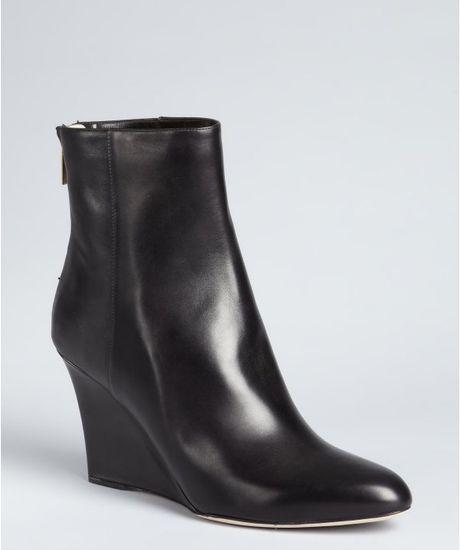 jimmy choo black leather zip back wedge mayor ankle boots