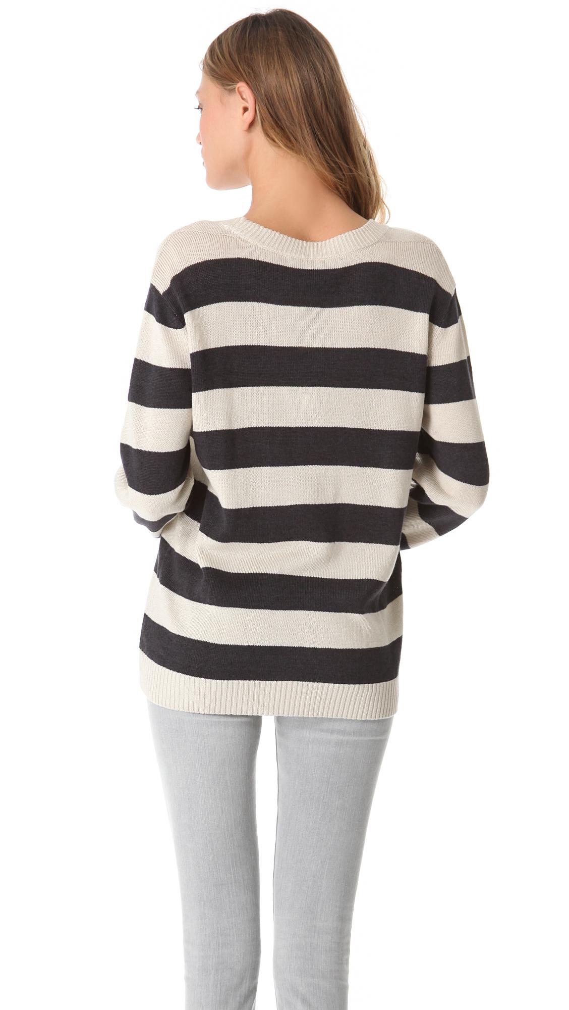 marc by marc jacobs winnie striped sweater in black bone lyst. Black Bedroom Furniture Sets. Home Design Ideas