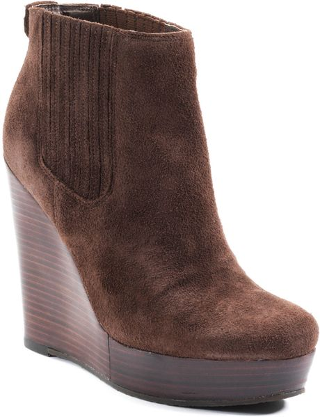 Michael Michael Kors Emory Wedge Suede Ankle Boots In