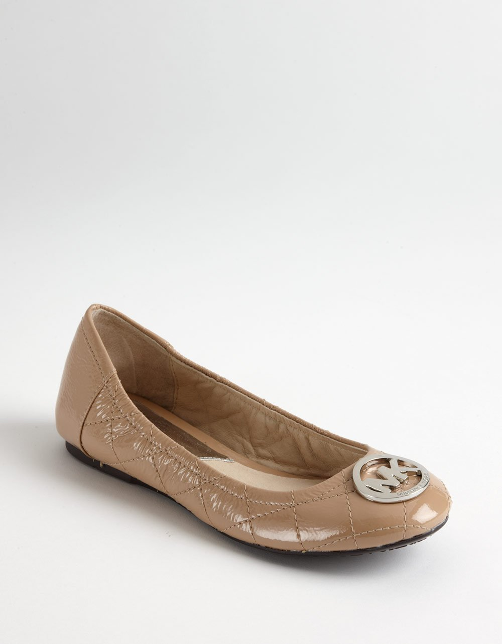 michael michael kors fulton quilted leather ballet flats in brown lyst. Black Bedroom Furniture Sets. Home Design Ideas
