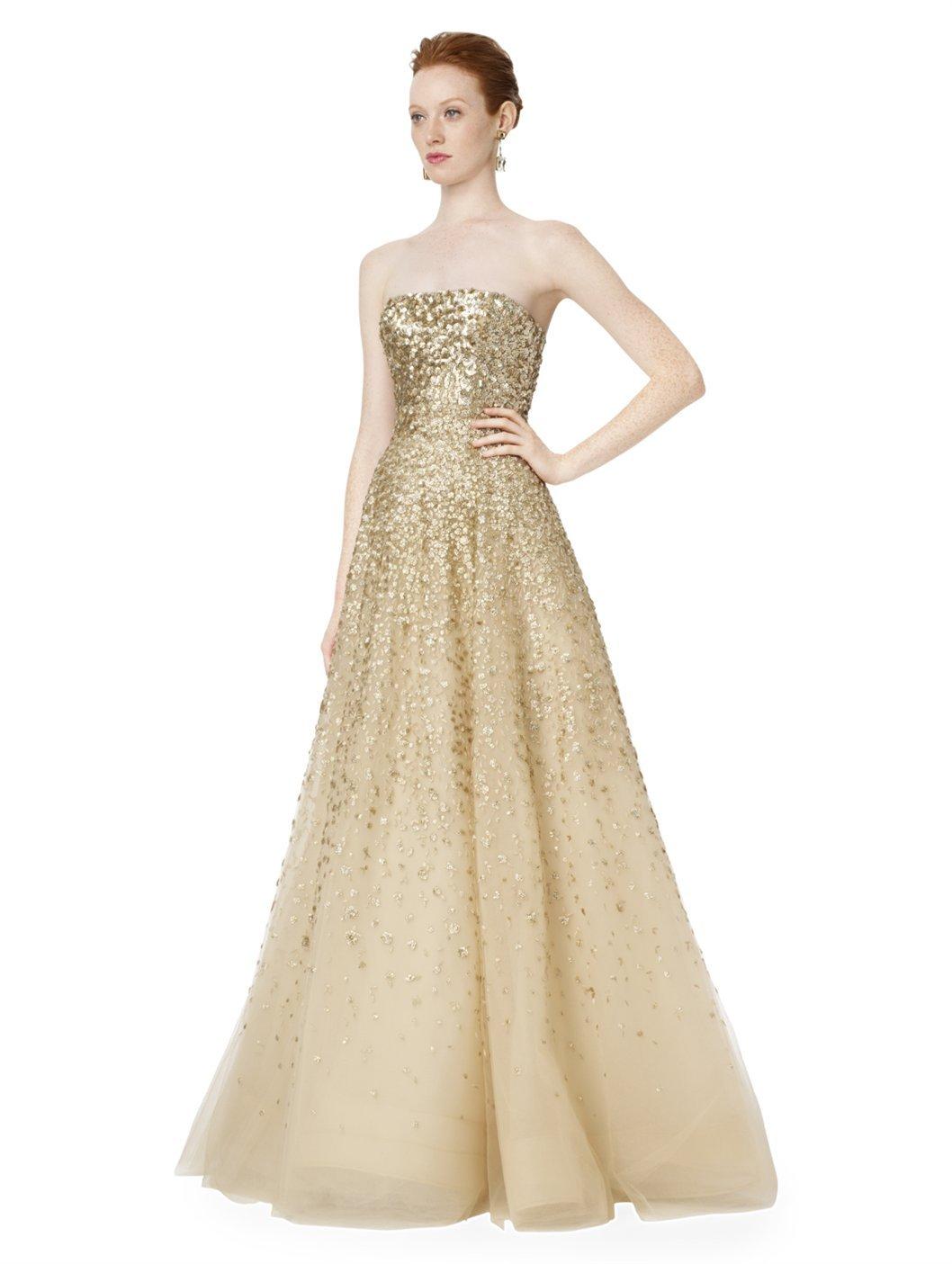 Oscar De La Renta Strapless Embroidered Gown in Metallic - Lyst