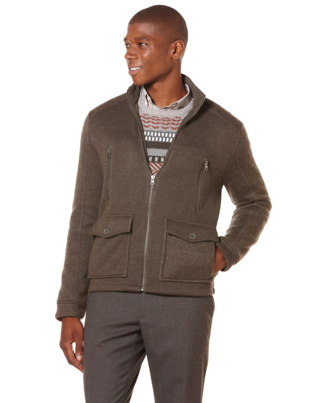 Knitting Pattern Bomber Jacket : Perry Ellis Knit Bomber Jacket in for Men (green) Lyst