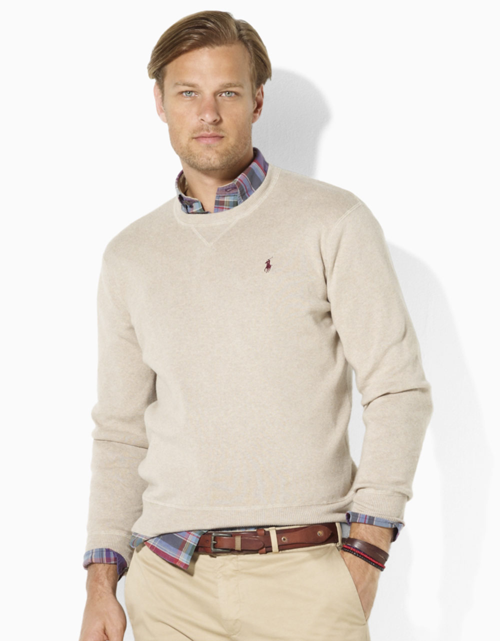 Polo ralph lauren Cotton Crewneck Sweater in Natural for Men | Lyst