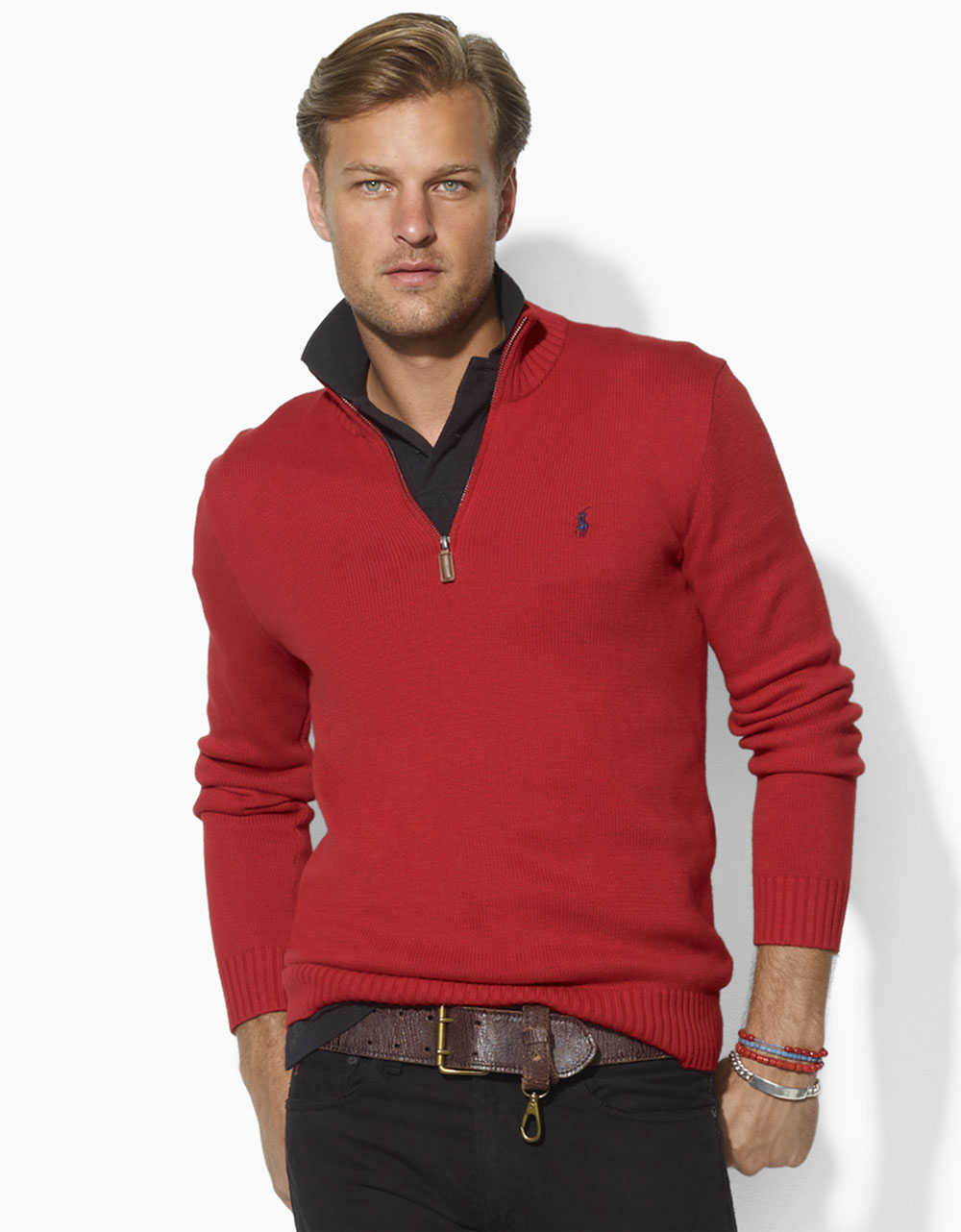 Polo ralph lauren Long Sleeved Cotton Half Zip Sweater in Red for ...