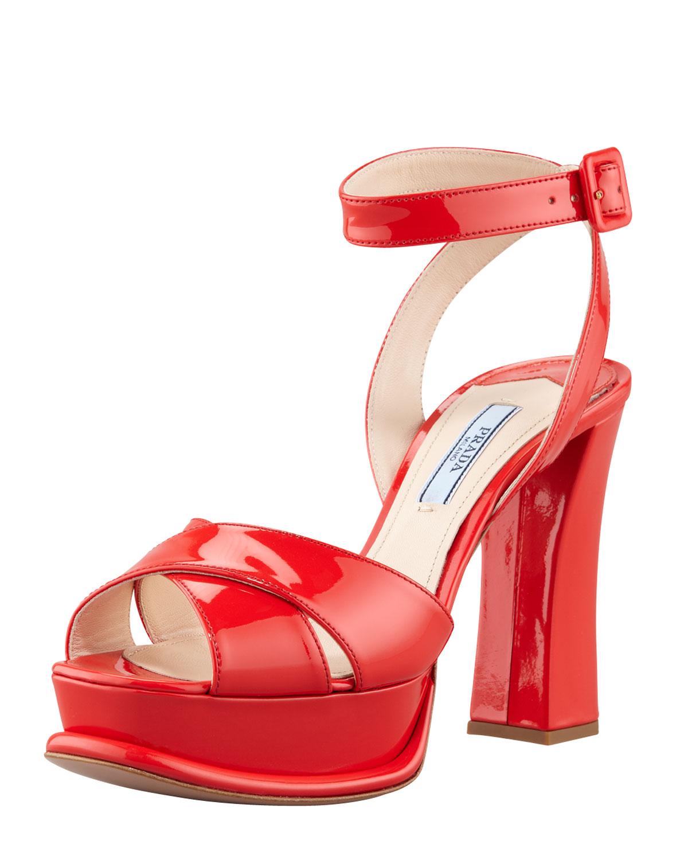 84920b7017b Lyst - Prada Patentleather Platform Sandal Heels in Red