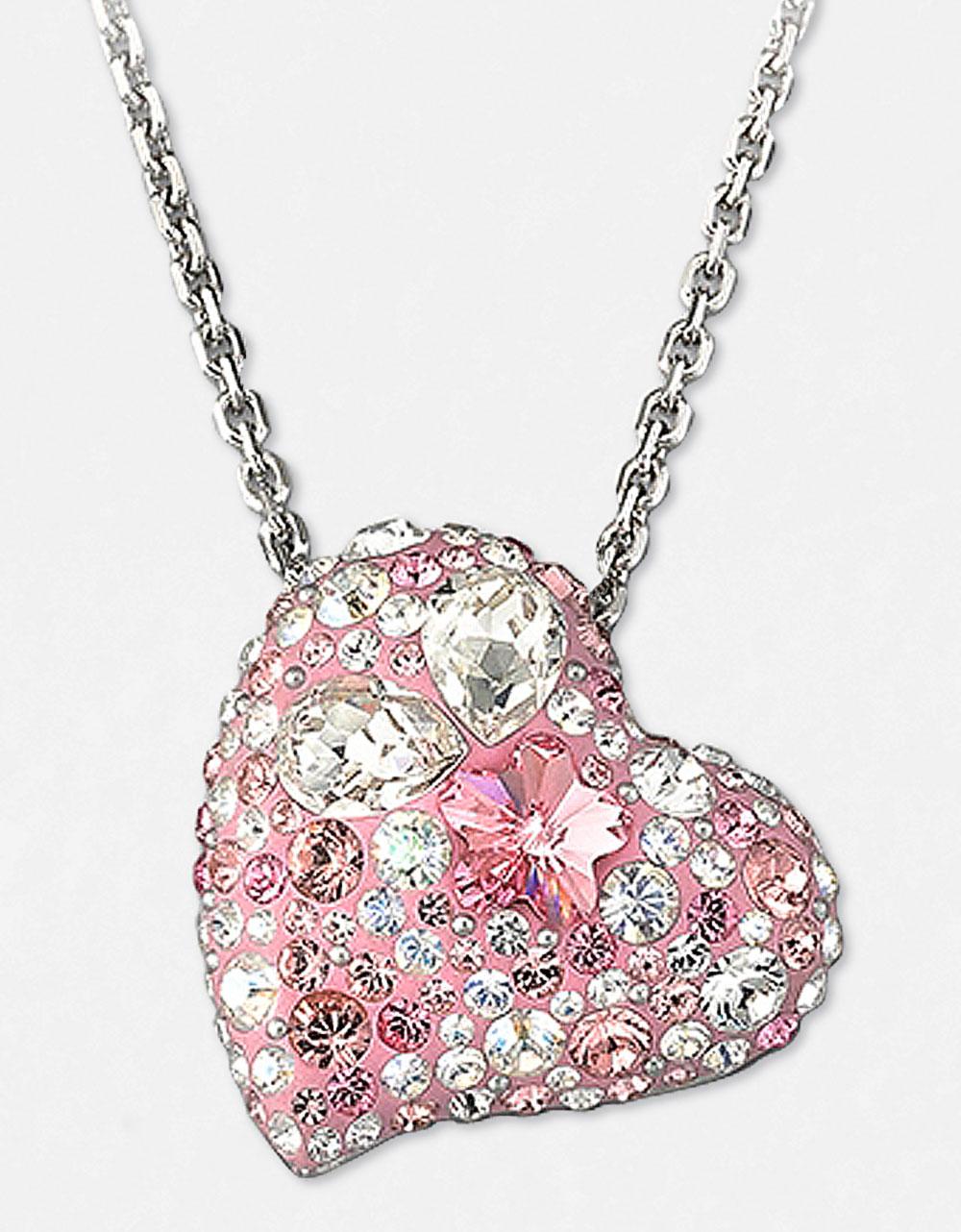 swarovski alana crystal heart pendant necklace in pink lyst. Black Bedroom Furniture Sets. Home Design Ideas