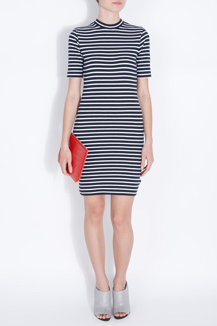 T By Alexander Wang Stripe Fitted Dress In Black Lyst