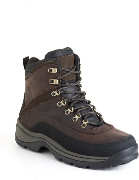 timberland white ledge waterproof hiking boots in brown