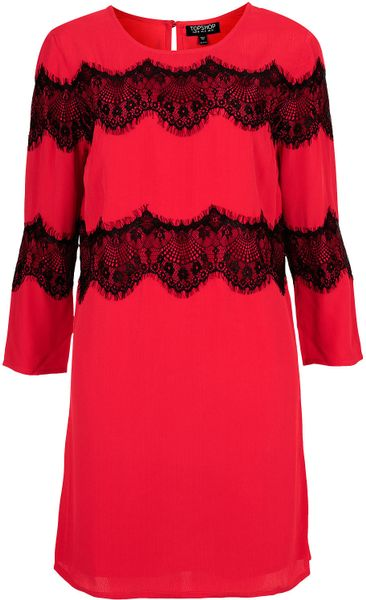 Topshop Lace Panel Shift Dress in Red