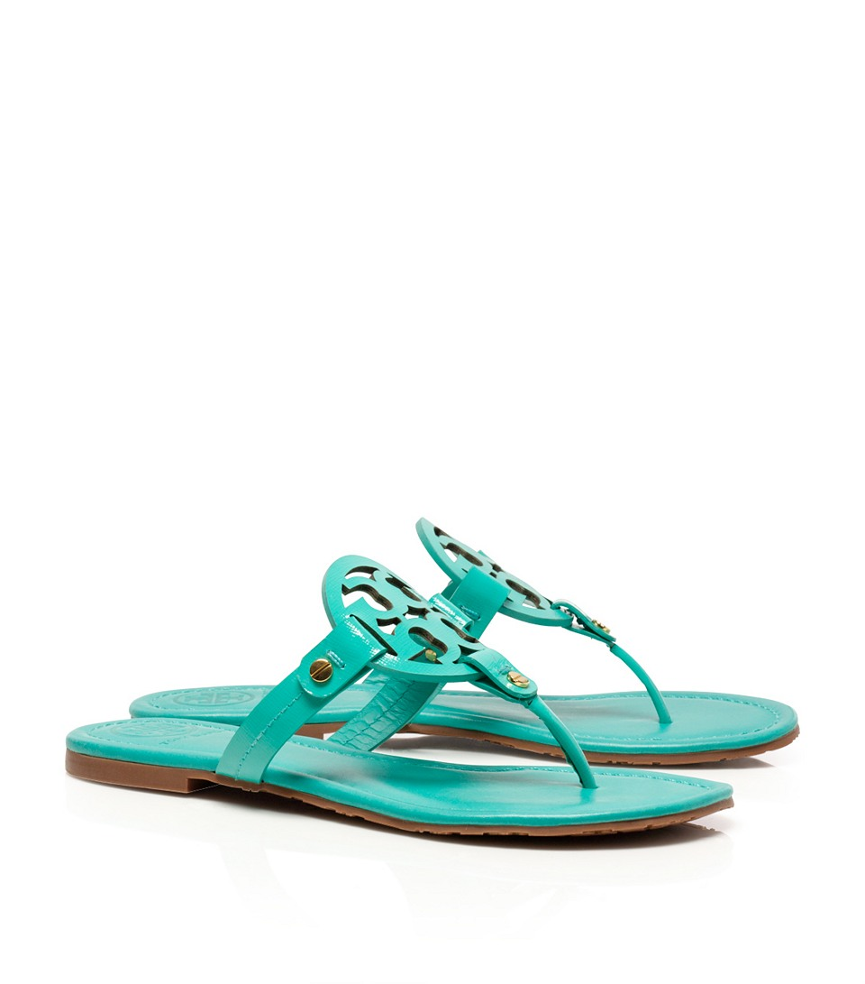 lyst tory burch patent leather miller sandal in green. Black Bedroom Furniture Sets. Home Design Ideas