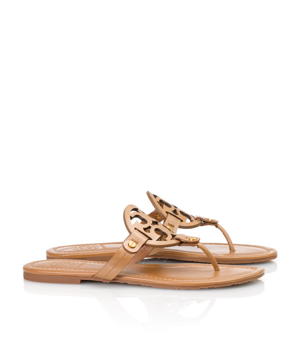 d918d7aa379 Lyst - Tory Burch Patent Leather Miller Sandal in Brown