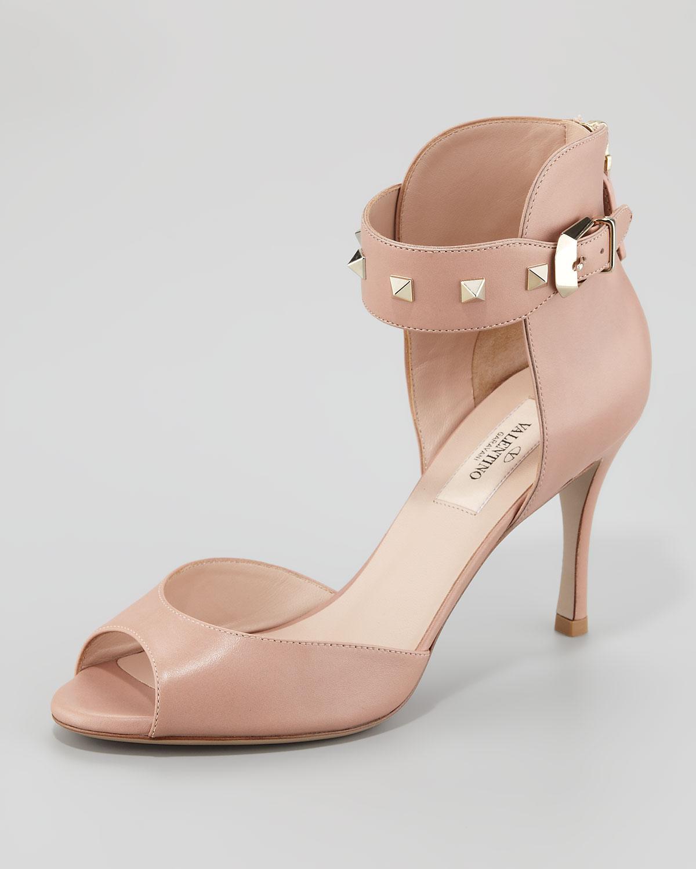 93efdbc5d3cb Lyst - Valentino Rockstud Ankle-strap Sandal in Pink