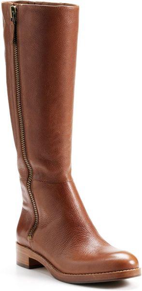 via spiga gretchen leather boots in brown cognac