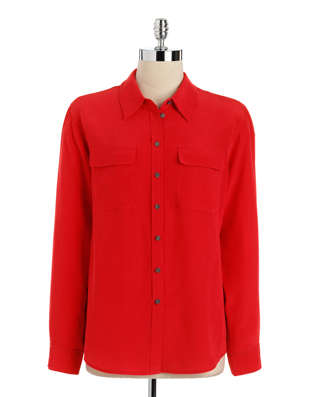 Vince Camuto Silk Button Down Blouse In Red Scarlet Lyst