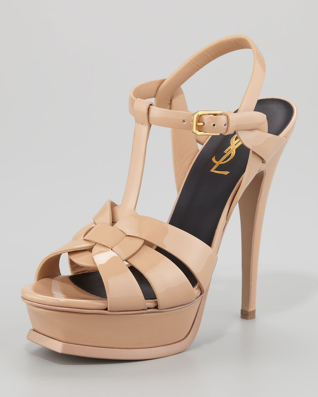 18659817b593 Lyst - Saint Laurent Tribute Patent Leather Platform Sandal in Natural
