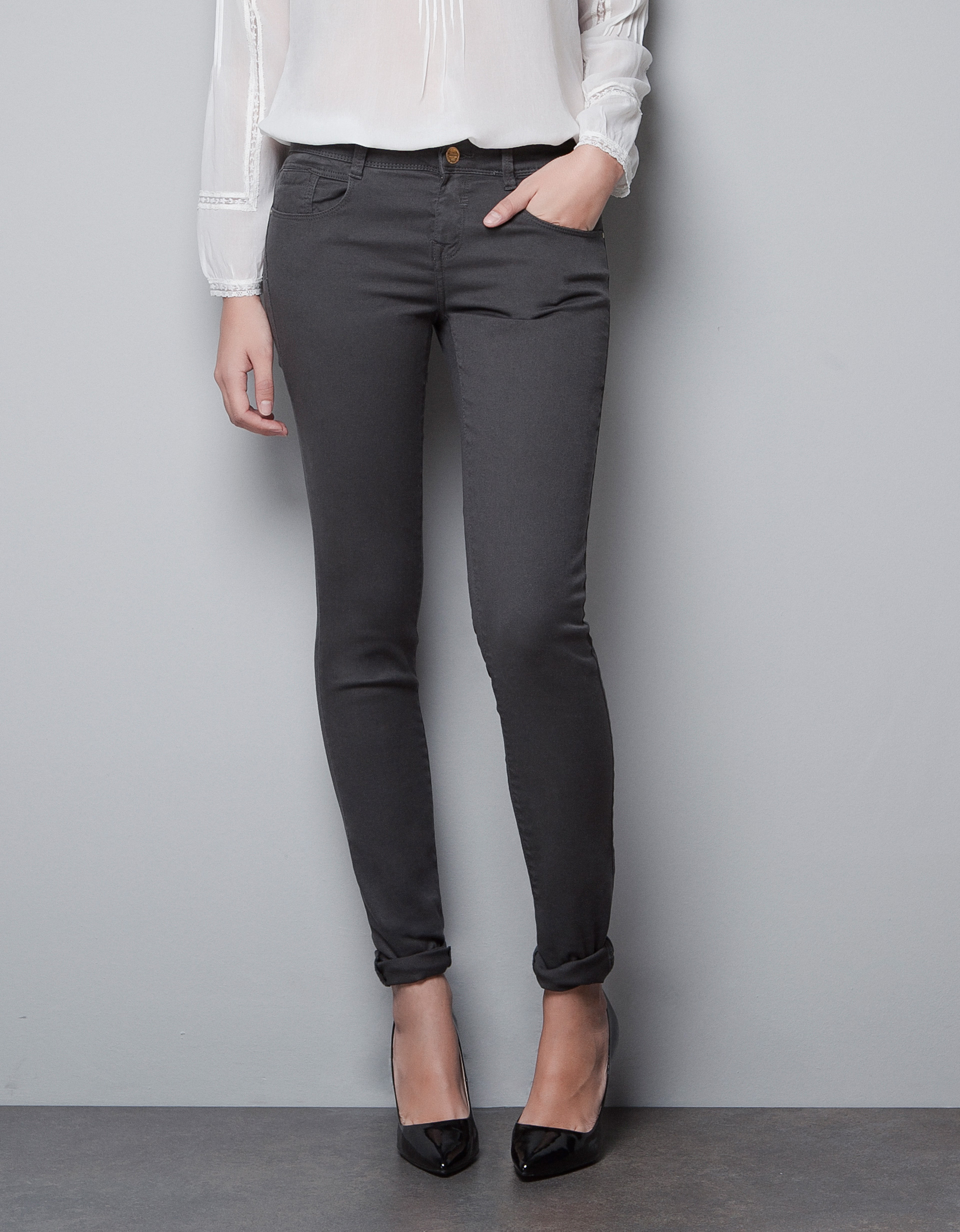 zara skinny jeans in gray anthracite grey lyst. Black Bedroom Furniture Sets. Home Design Ideas