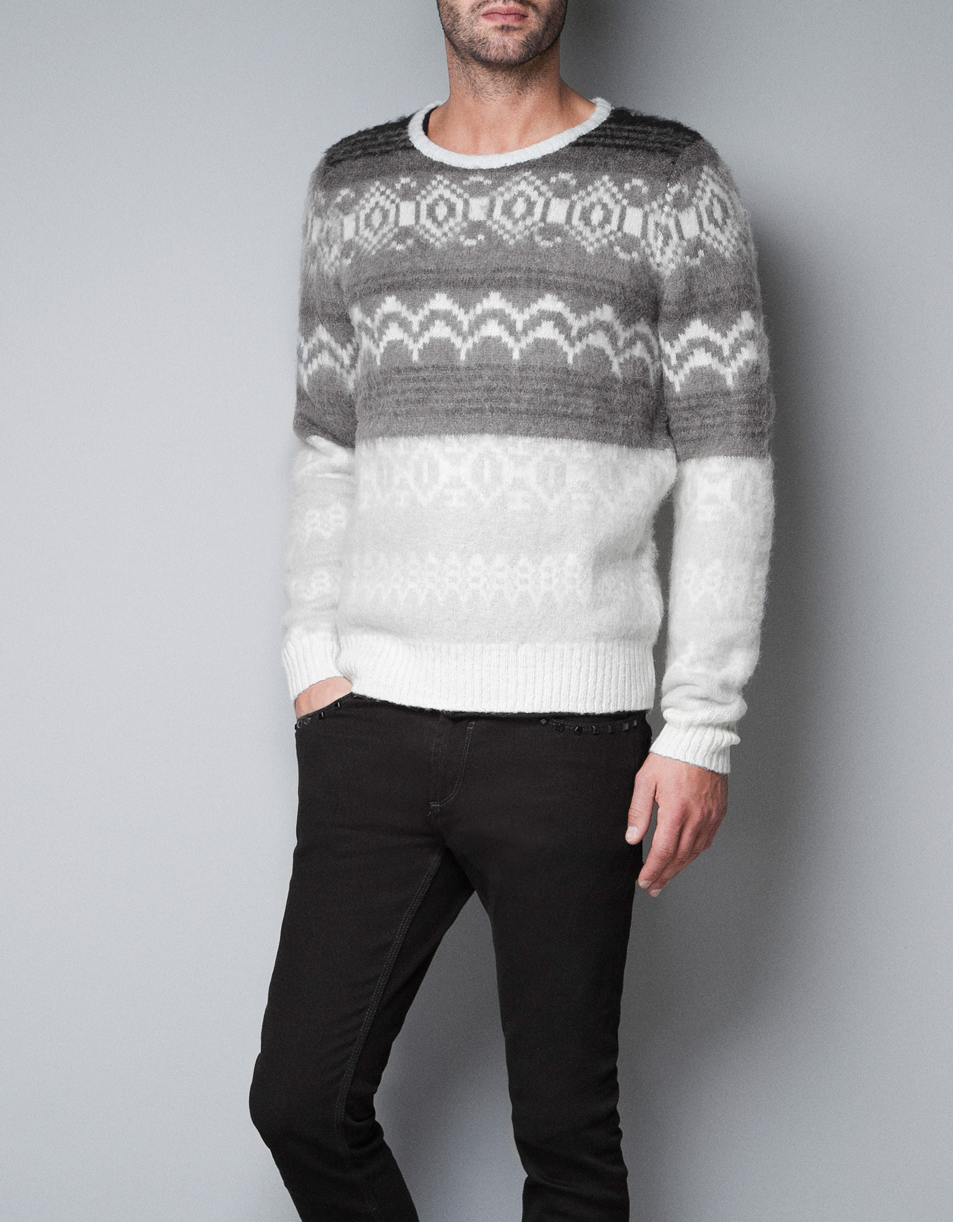 Zara Knitted Jacquard Pattern Sweater In White For Men