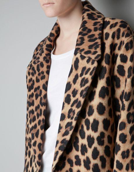 Zara Leopard Print Coat In Black Beige Lyst