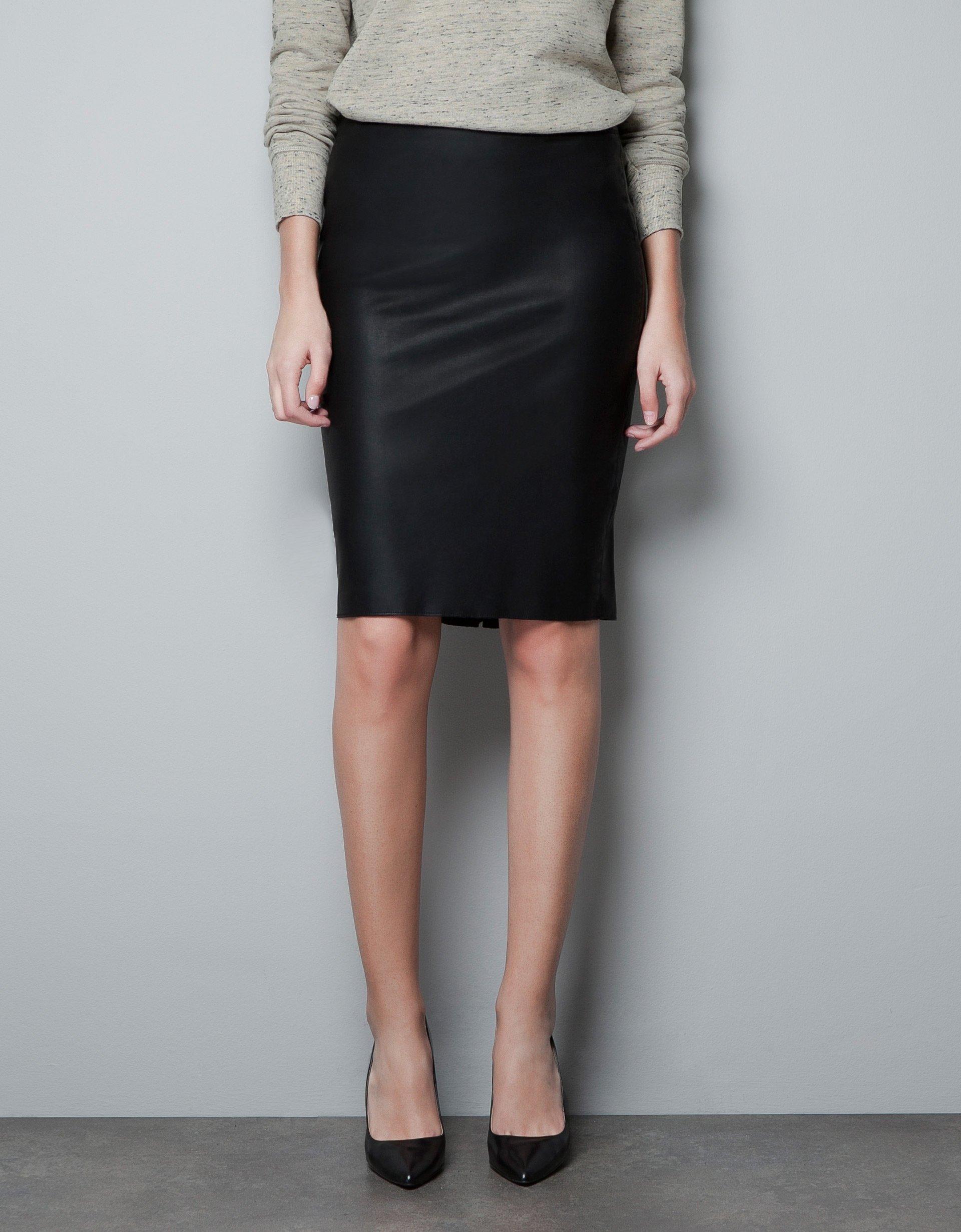 zara leather pencil skirt in black lyst