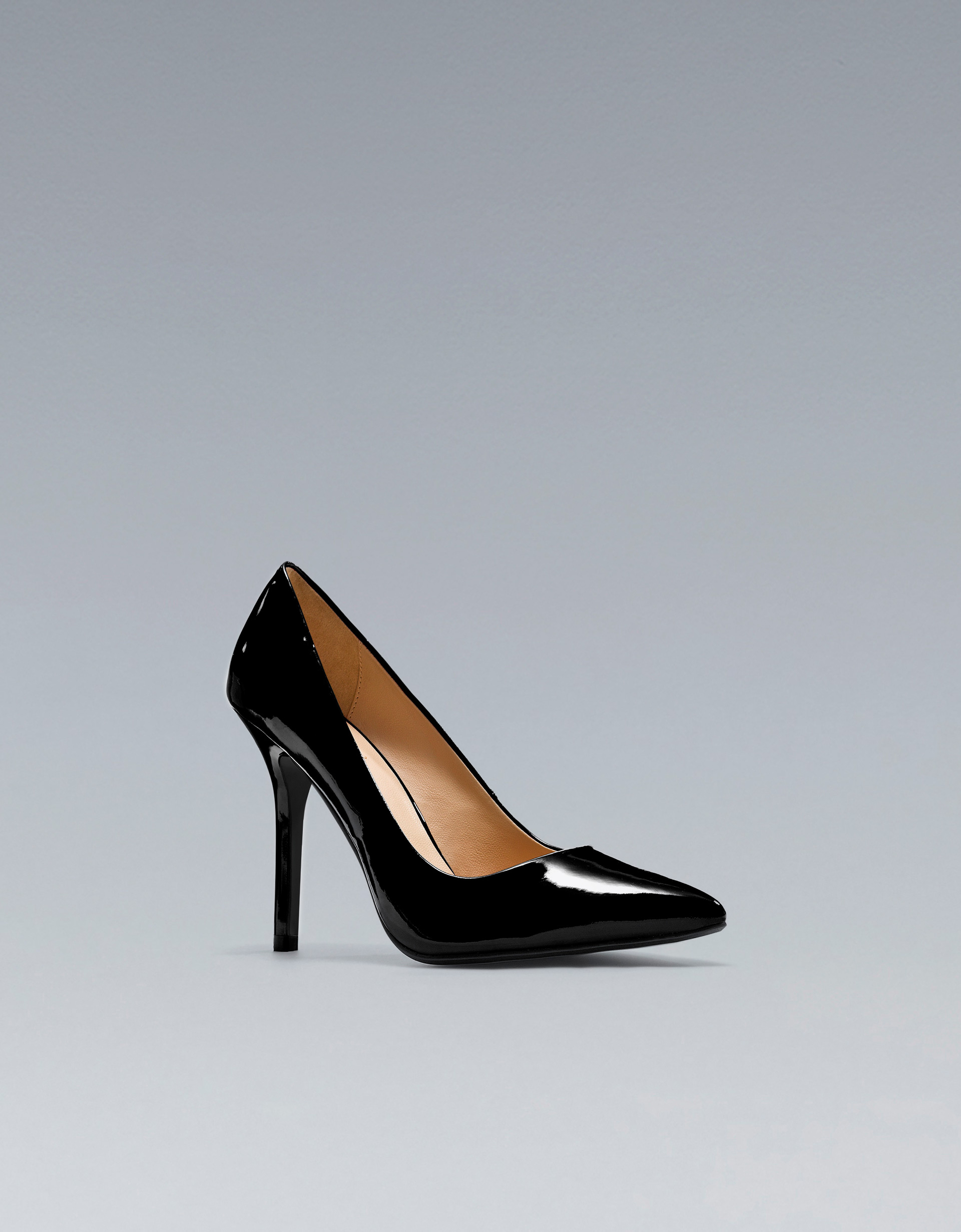 zara patent leather court shoe in black lyst
