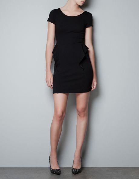 Zara Short Sleeve Peplum Dress in Black