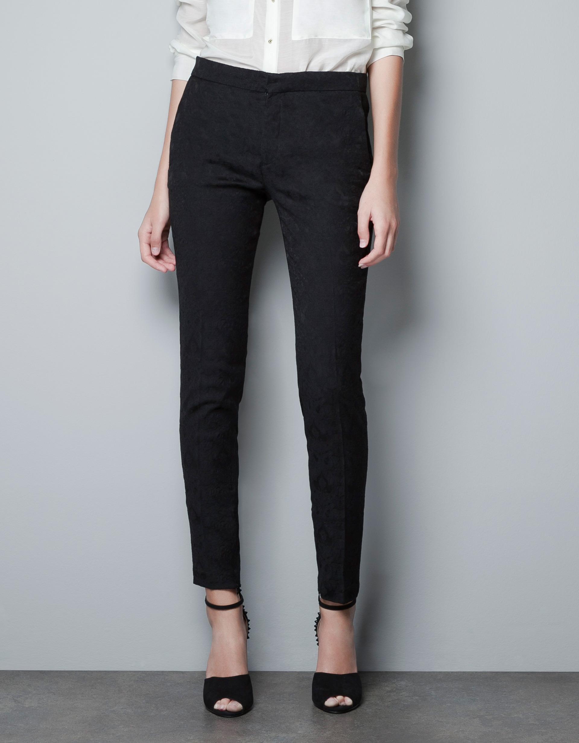Zara Skinny Jacquard Pants In Black | Lyst
