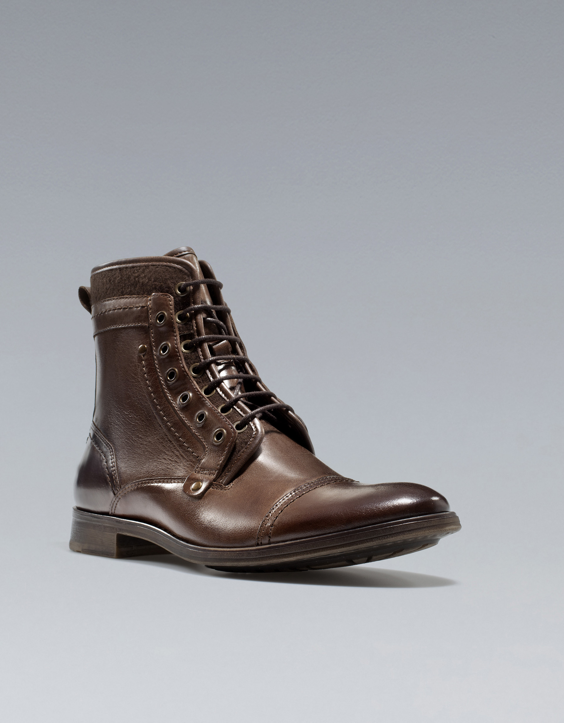 zara laceup ankle boots in brown for lyst