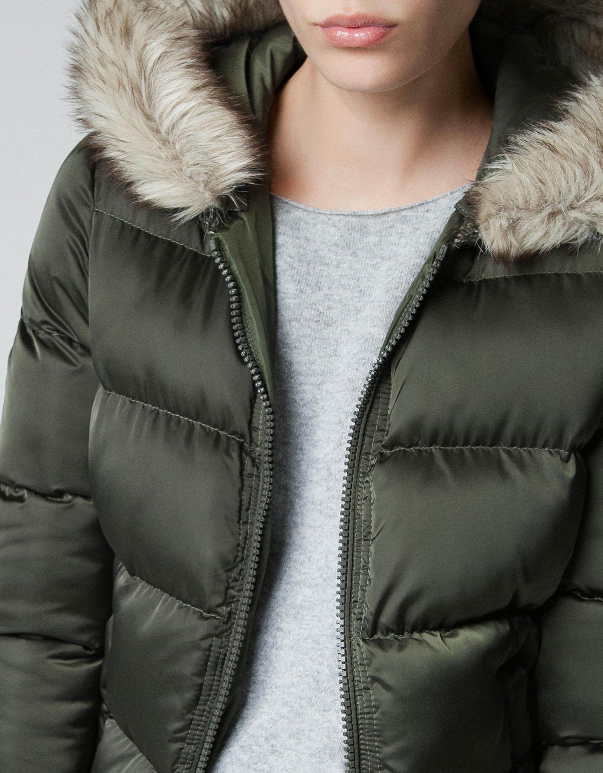 Zara Puffer Jacket with Fur Hood in Green | Lyst