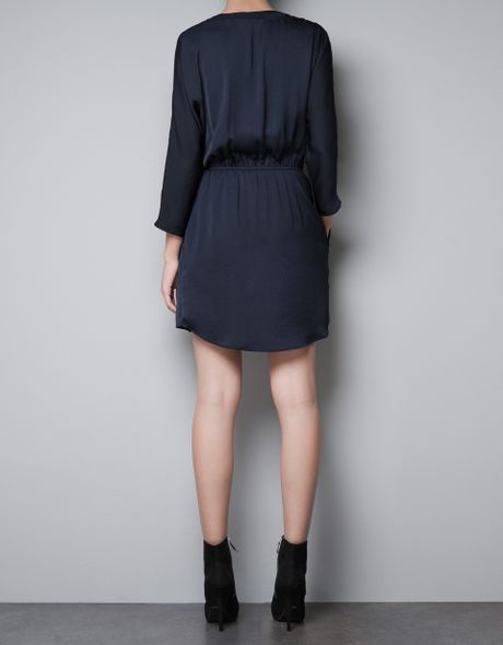 Zara Wrap Dress With Appliqu 233 In Blue Dark Navy Lyst