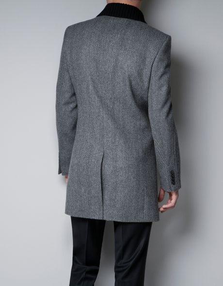 Zara Herringbone Blazer Coat With Knitted Collar In Gray