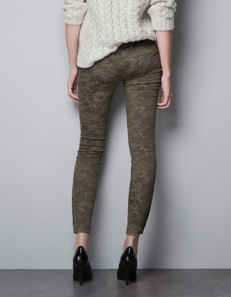Original Zara Camouflage Trousers With Zips In Gray  Lyst