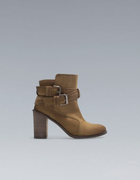 zara high heel ankle boots with buckles in brown khaki