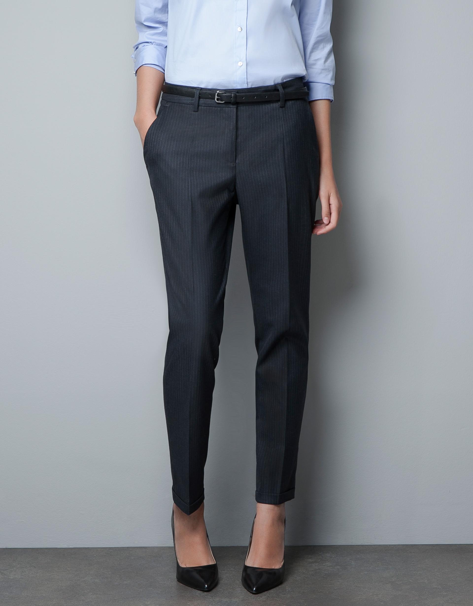 zara pinstripe trousers in gray marengo lyst. Black Bedroom Furniture Sets. Home Design Ideas