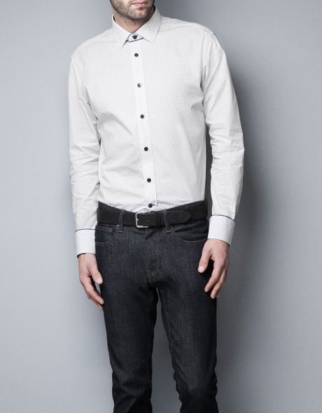Zara printed shirt with contrasting cuffs and collar in for Mens dress shirts with contrasting collars and cuffs