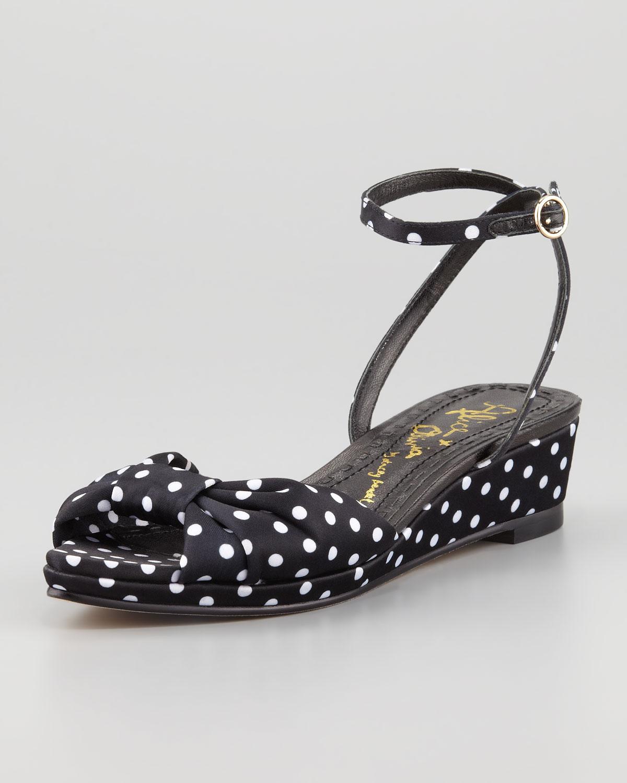 Black White Polka Dot Wedge Shoes