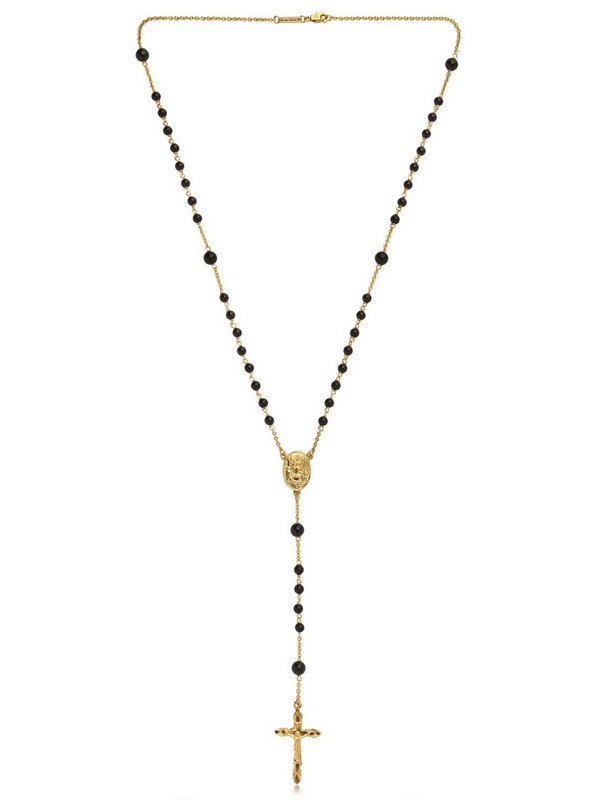 Dolce Amp Gabbana Gold And Black Onyx Rosary Necklace In