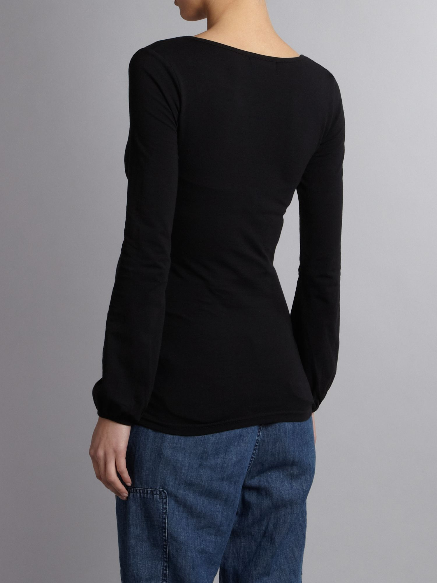 lyst mama licious basic long sleeve maternity top in black. Black Bedroom Furniture Sets. Home Design Ideas