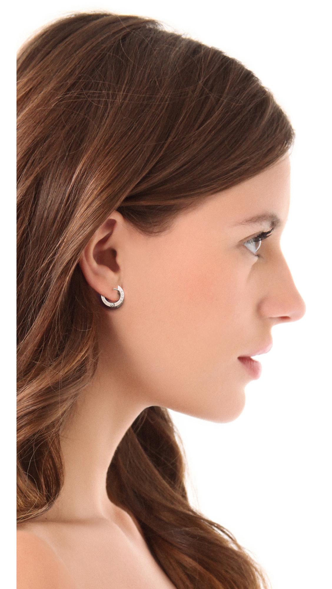 Michael Kors Metallic Pave Huggie Earrings