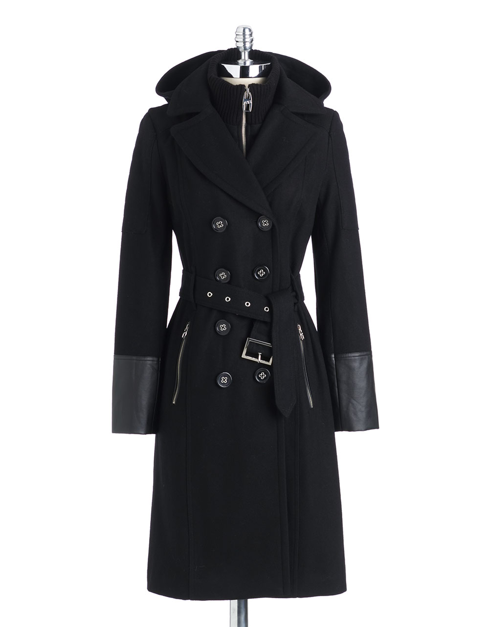 Miss Sixty Faux Leather Trim Hooded Jacket in Black | Lyst