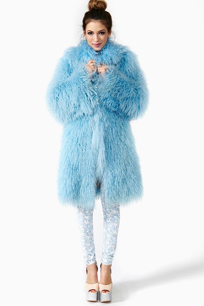 Lyst Nasty Gal Baby Blues Monogolian Lamb Fur Coat In Blue