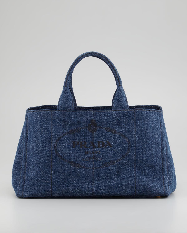 Prada Denim Small Gardeners Tote Bag In Blue Lyst