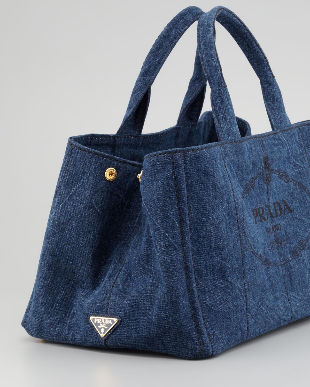 Lyst Prada Denim Small Gardeners Tote Bag In Blue