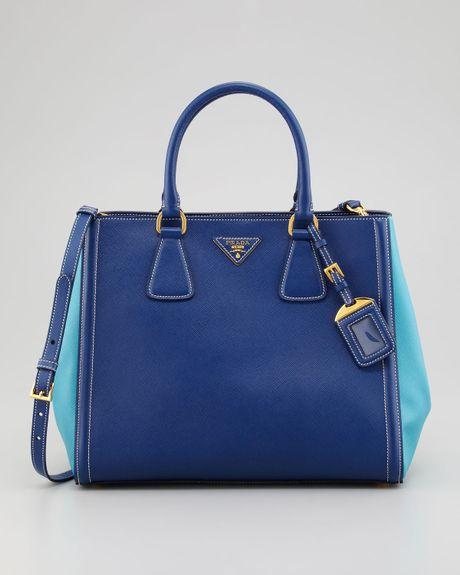 Prada Saffiano Bicolor Tote Bag in Blue