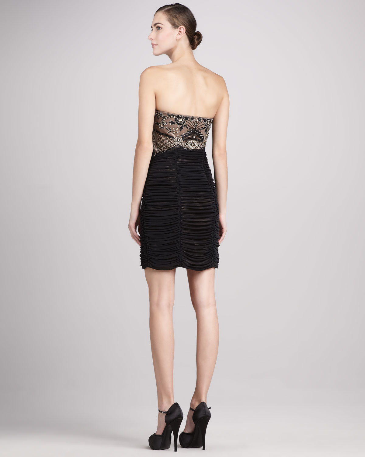 f87cd14ad55 Lyst - Sue Wong Strapless Beaded Ruched Cocktail Dress in Black
