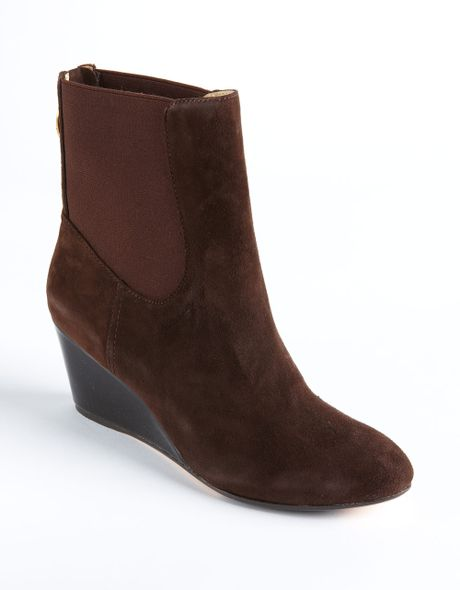 kuri suede ankle wedge boots in brown brown