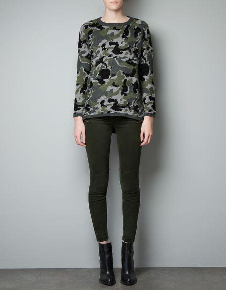 Popular Zara Camouflage Trousers In Multicolor For Men Khaki  Lyst
