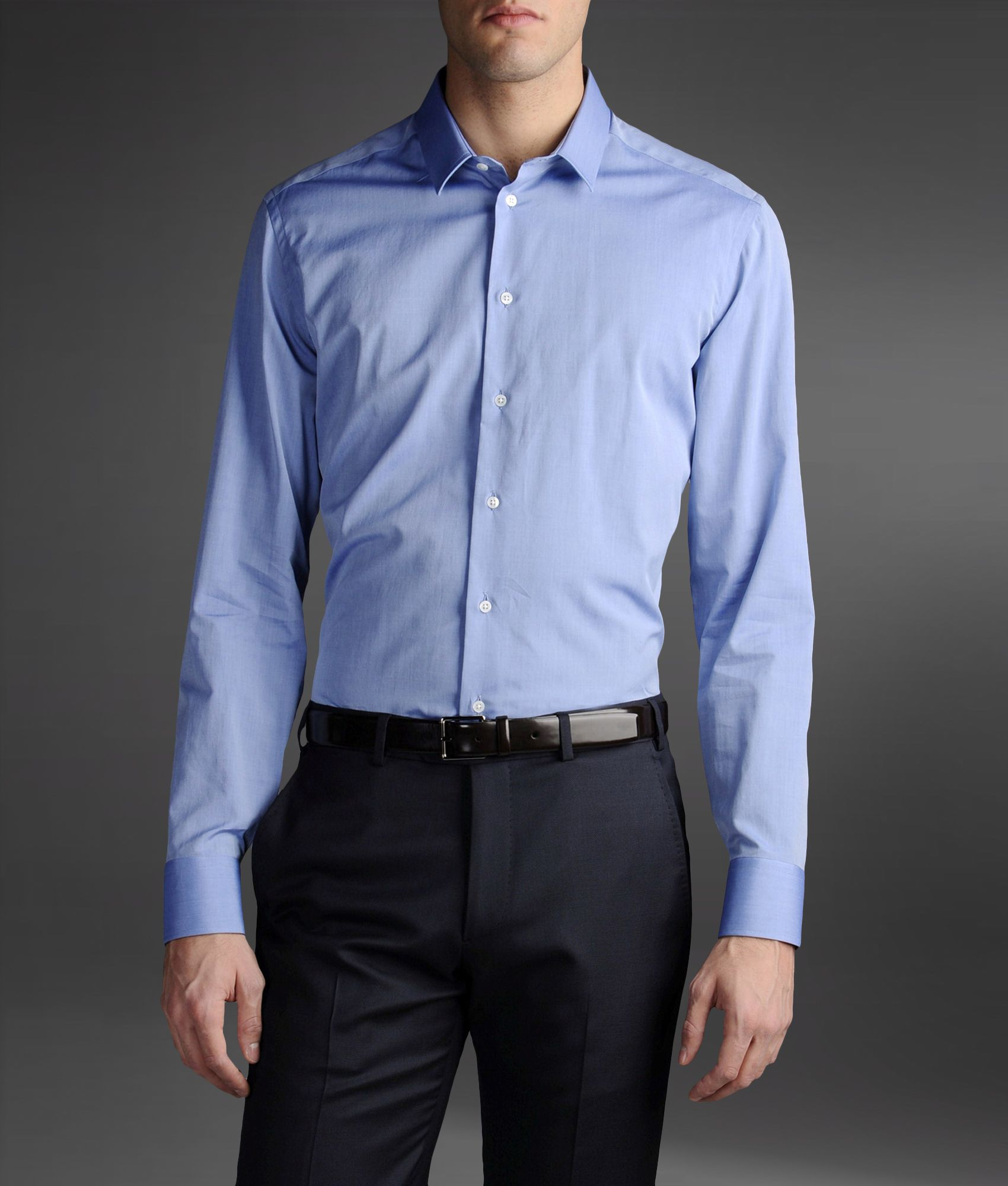 Armani cotton shirt with stiff collar in blue for men for Stiff collar polo shirt