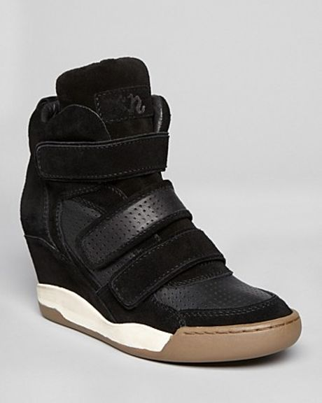 ash high top wedge sneakers alex in black lyst. Black Bedroom Furniture Sets. Home Design Ideas