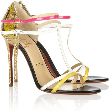 Christian Louboutin Arnold 100 Patent Leather Sandals in Multicolor (gold)